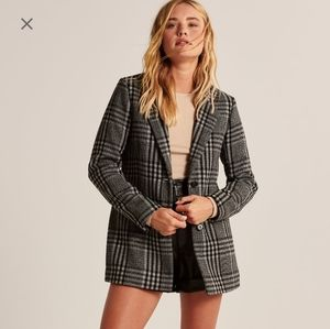 Abercrombie new black plaid blazer/coat